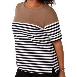 Karen Scott Women Boat Neck Stripe Top Cuff Sleeve